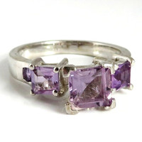 Amethyst Multi Stone Ring, Vintage Sterling Silver Band, Size 7