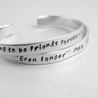 Personalized Friendship Bracelet SET OF TWO - Winnie the Pooh and Piglet - Hand Stamped Aluminum Cuff - customizable