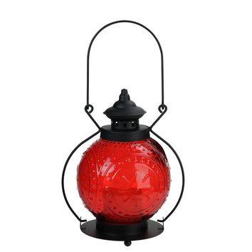 """11"""" Red Molded Glass Lantern with Flameless LED Pillar Timer Candle"""