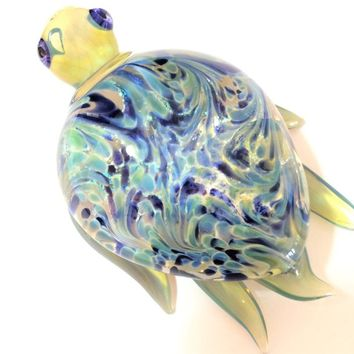 Blown Glass Blue Dichroic Turtle Paperweight, Signed USA Artist, Home and Office Decor,  Just Because Gift 818m