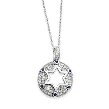 Rhodium Plated Sterling Silver & CZ Star of David Necklace, 18 Inch