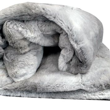 Tache  50 x 60 IN Striped Grey Plush Rabbit Faux Fur Throw Blanket