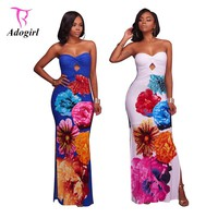 Adogirl 2017 Summer Women Strapless Maxi Dresses XXXL Plus Size Hollow Out Slit Print Fit and Flare Evening Party Dress for Lady