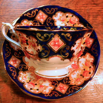 Pair of Royal Albert English Bone China Footed Tea Cups and Saucers - Pattern Heirloom - Gorgeous Cobalt with Floral and Gold Design