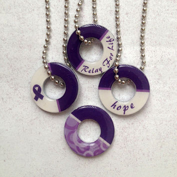 Relay For Life Double-Sided Washer Pendant Necklace