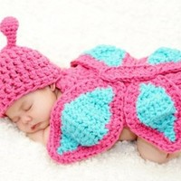 Baby Girl Newborn Crochet Butterfly Flower Hat Beanie Onesuits Outfit Costume Photography Props Pink&Light Turquoise+Free Gift,Lace Doilies,Random Colors:Amazon:Baby