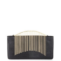 Black BCBG Payton Exotic Faux-Leather Clutch