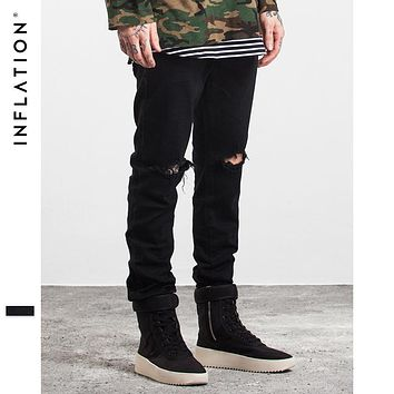 INFLATION 2017  Men Fashion Solid Color Straight Ripped Jeans Denim Overalls Biker Homme Jeans Side Zipper Jeans Free Shipping