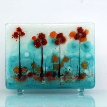Fused Glass napkin holder , blooming blue landscape