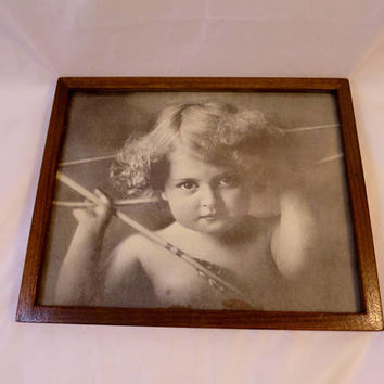 Cupid Awake Picture Sepia Toned Print Slim Oak Frame Victorian Print Angel Bow Arrow M. B. Parkinson Cupid 8 x 10 inches