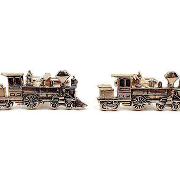 Vintage Train Cufflinks Steam Locomotive Engine Hickok Gold Tone Mid Century Mens Formal Figural Novelty Jewelry Gift