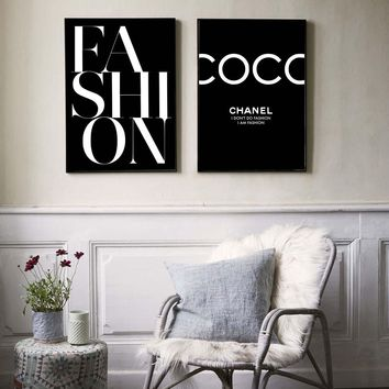 Fashion Poster Nordic Wall Art Canvas Painting Black and White COCO Quotes Posters and Prints Wall Pictures For Living Room