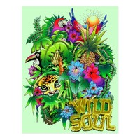 Jungle Wild Animals and Plants Postcard