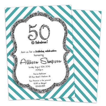 Silver 50th Birthday Invitation for Women -  50 Fabulous - Glitter Silver Aqua Blue Birthday Party - 40th - 50th - 60th - Stripes 80 ANY age