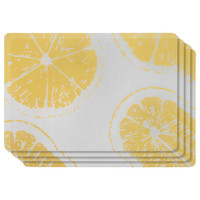 Set of 4 Lemon PVC Placemats