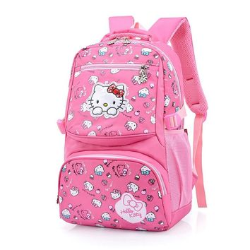New Korean Hello Kitty School Bag For Girls Cartoon Bow Cat Nylon Student School Backpacks mochila escolar