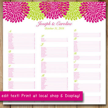 Chrysanthemum Wedding Seating Chart Template | Floral Seating Chart Word Template | Fuchsia Pink Lime Green You Print 22x22 Wedding Download