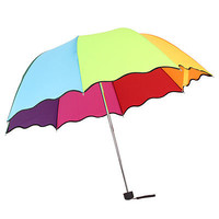 Lady Flouncing Princess Dome Wave Parasol Sun/Rain Folding Umbrella Hot Fashion
