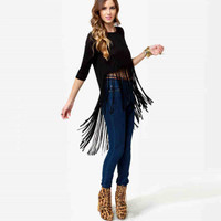Black Sleeve Fringed Asymmetrical Shirt