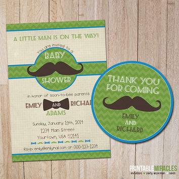 Mustache baby shower invitations / Printable mustache bash invites / Custom mustache party invitation card / Boy baby shower invitation