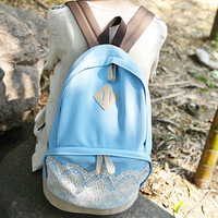 Fresh Blue Sweet Lace Canvas Backpack