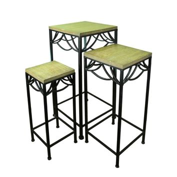 3 Piece Square Wood & Metal Planter Stand, Brown And Black