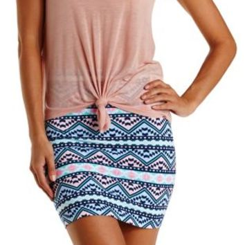 Multi Tribal Print Bodycon Mini Skirt by Charlotte Russe
