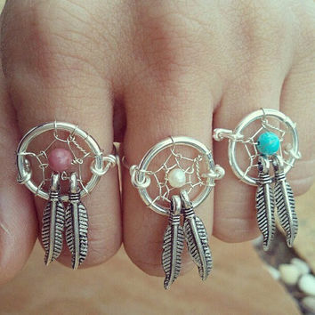 Dream Catcher Two Feather Finger Ring- Double Feather Charm Wire Wrapped Turquoise Pink Pearl Silver Plated Ring Size 4 5 6 7 8 9 10