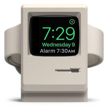 LMFGQ6 elago W3 Stand [Original Design Awards] [White] - [Vintage Apple Monitor][Supports Nightstand Mode][Cable Management] - for Apple Watch Series 1, 2, and 3