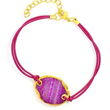 Polished Agate Slice Magenta Pink Leather Bracelet Cuff Striped Geode Pendant BC61 Fashion Jewelry