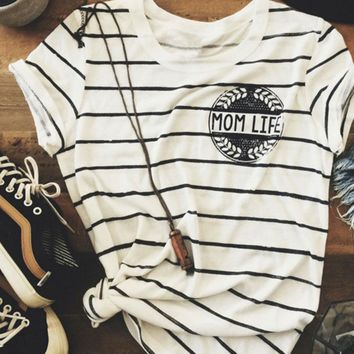 Striped  Mom Life T shirt