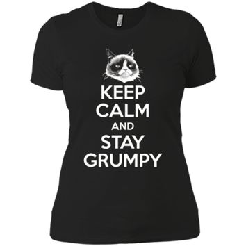 Grumpy Cat Keep Calm And Stay Grumpy Poster Graphic  Next Level Ladies Boyfriend Tee