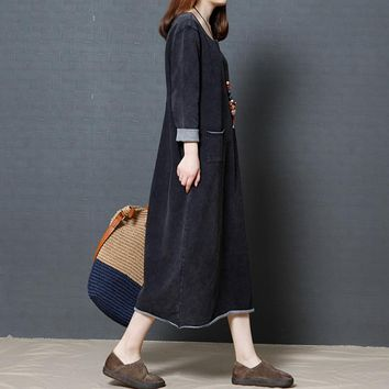 2018 Spring New Women Dress Plus Size Vintage Loose Literary O-neck Solid Color Maxi Long Cotton Linen Dress Robe Vestidos