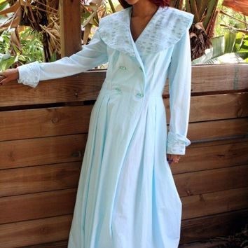 Breakfast At Tiffanys Robe Something Blue Bridal Wedding Cotton 40's Coachmans Robe Hand Stamped Tiffany Invoice Wrap Dbl Breasted Robe