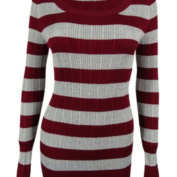 Pink Rose Juniors' Striped Rib Knit Sweater