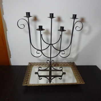 Vintage Tall Old Rusty Black Metal Candelabra with 5 Candle Holders and Scroll Design