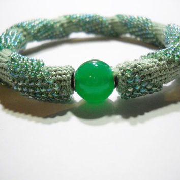 Mint green bracelet -Spiral crochet rope with beads - Beaded bracelet -