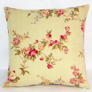 "Celery Green Floral Pillow, 17"" Square Linen,  Pale Celadon Pink Roses, Zipper Cover Only or Insert Included, Ready to Ship"