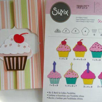 New Sizzix Triplits Cupcake Dies (Set of 9) Cut, Emboss, Stencil: Unopened and In Original Packaging