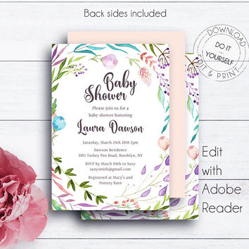 DIY Shower Template, Leaves, Shower Invitation, Rustic, Floral, Watercolor, Editable Invitation, Shower Invite, Botanical, DIY Invitation