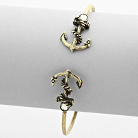 Anchor Double Sided Cuff Bracelet Burnished Gold