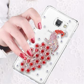 Luxury 3D Peacock Bird bling Crystal diamond Mobile phone Shell Back Cover Skin Hard Case For Nokia Lumia 535 N535