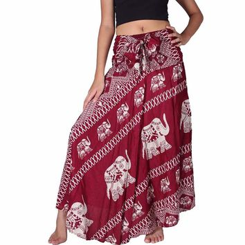 malianna Women Beach Long Skirt Vintage Bohemian Hippie Red Skirt Elephant Print Summer Maxi Skirts High Waist Tie up Skirts