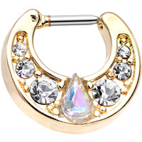16 Gauge Gold Plated Clear Teardrop Aurora Gem Septum Clicker | Body Candy Body Jewelry