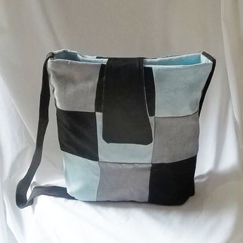 Patchwork suede Boho hand bag  blue black and silver by ACAmour
