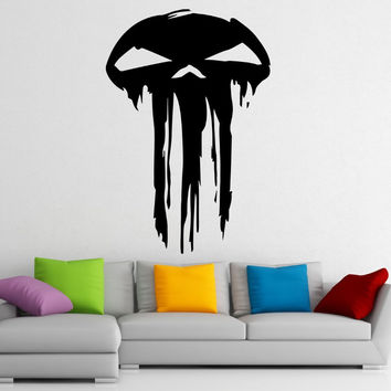 Punisher Vinyl Wall Decal Words Hero Marvel Comics Character Skull Mural Art  Wall Sticker Boys Room Bedroom Home Decoration