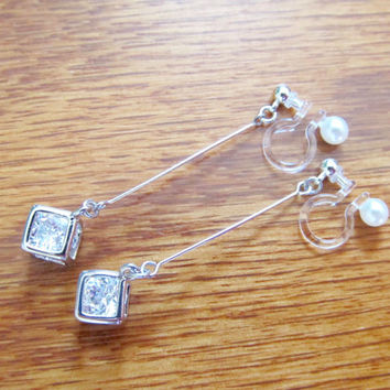 Silver Crystal in Cube Wedding clip on earrings | Rhinestone clip on earring |6E| Non Pierced earrings | Comfortable Dangle Clip on Earrings