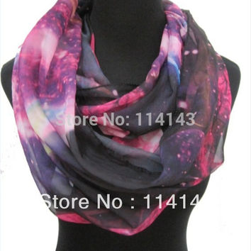 Fashion Ladies Galaxy planet space Star Sky Print Circle Loop Infinity Scarf ,Free Shipping
