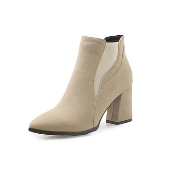 Pointed Toe Ankle Chelsea Boots Thick Heel Shoes 3908