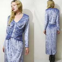 90s Vintage VELVET 2-PIECE Set Top + Skirt Grunge Gypsy Long Sleeve Blouse White-Witch Pastel Lavender Purple 1990s vtg S M